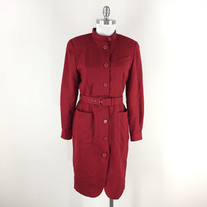 VTG S 6 Red Wool Crepe Shirt dress belt Long Sl